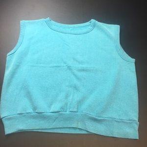 Vintage Womens Large Teal Sleeveless Sweatshirt